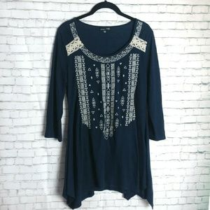 RXB embroidered scoop neck tunic